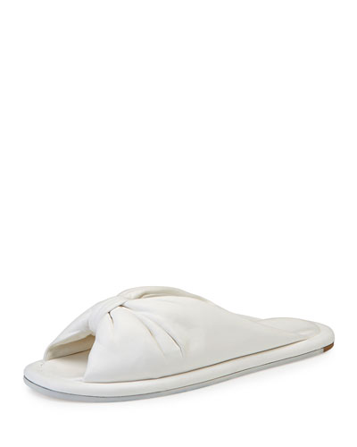 Bow Leather Slide Sandal, Ivoire