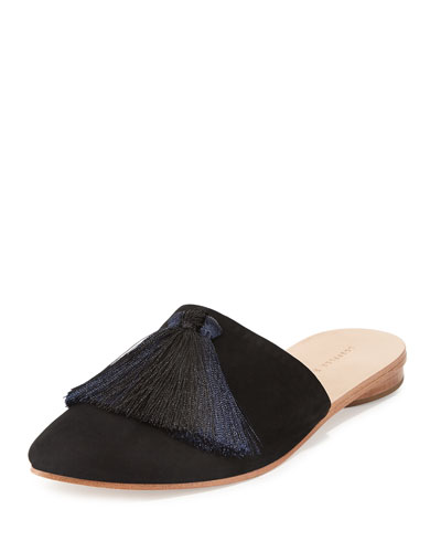 Winnie Tassel Mule Slide, Black/Eclipse