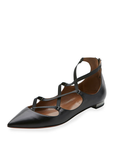 Mischa Strappy Leather Flat, Black
