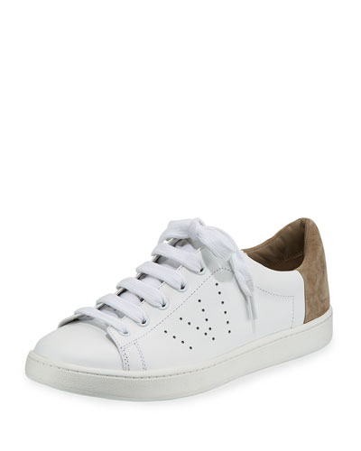 Varin Low-Top Leather Sneaker, White/Woodsmoke