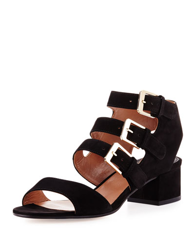 Klio Nubuck Three-Buckle Sandal, Camel