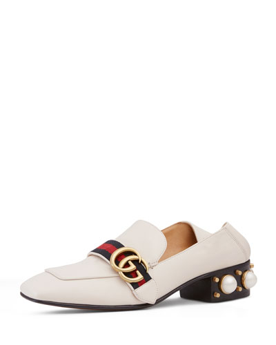 Peyton Pearly-Heel Loafer, White