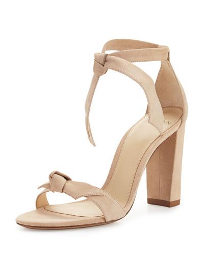 Clarita Suede Block-Heel Sandal, Neutral