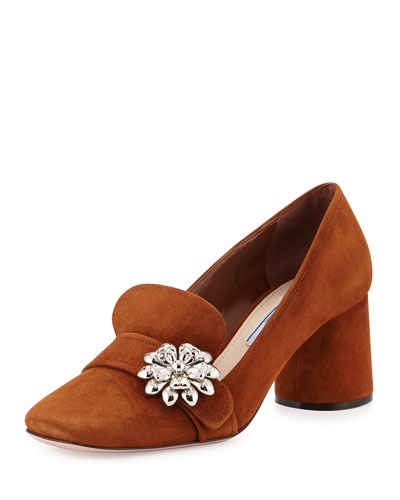 Ornament-Embellished Suede Loafer Pump