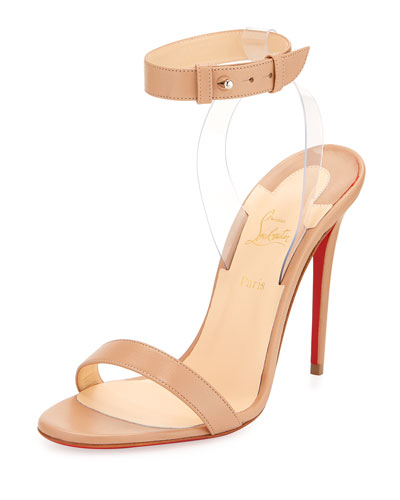Jonatina Illusion Red Sole Sandal, Beige