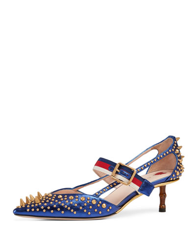 Unia Studded Point-Toe Pump, Blue