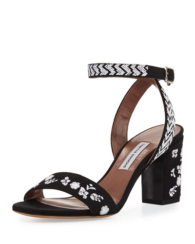 Leticia Embroidered Block-Heel Sandal, Black/White