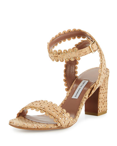 Leticia Scalloped Cork Sandal, Natural/Gold