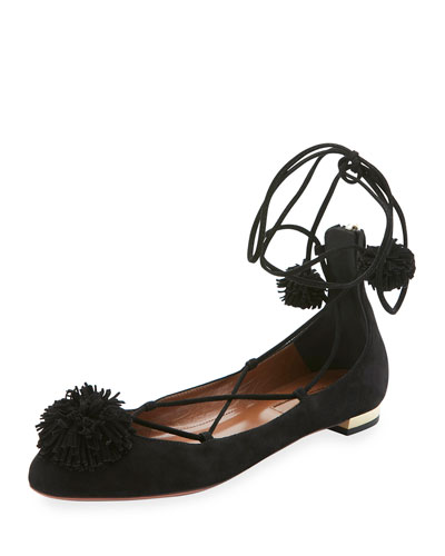 Sunshine Suede Ankle-Wrap Flat, Black