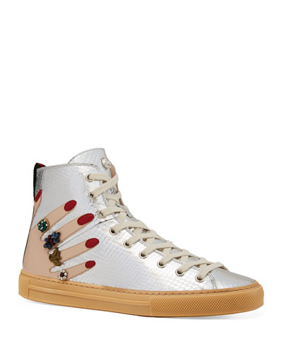 Flat Major High-Top Sneakers, Silver