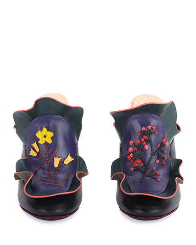 Floral Ruffled Leather Mule