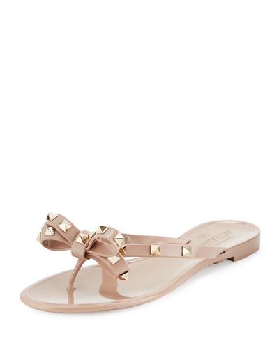 Rockstud Pvc Flat Thong Sandal, Poudre in Pink