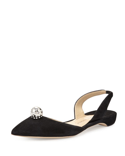 Rhea Jeweled Suede Halter Flat, Black