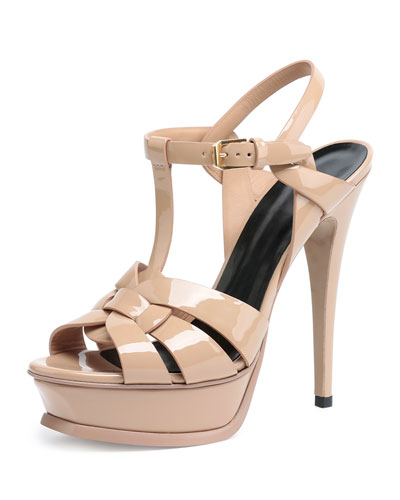 Tribute Patent Leather Sandal, Poudre
