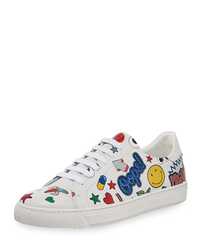 Stickers Low-Top Leather Sneaker, White