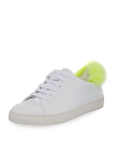 Low-Top Sneaker w/Mink Fur Pompom, White