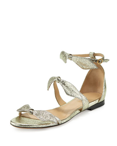Mike Bow Metallic Flat Sandal, Gray Glitter
