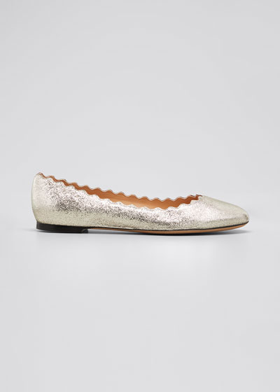 Lauren Scalloped Metallic Leather Ballerina Flat
