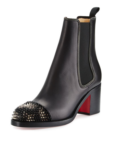Otaboo Spike-Toe 70mm Red Sole Bootie, Black