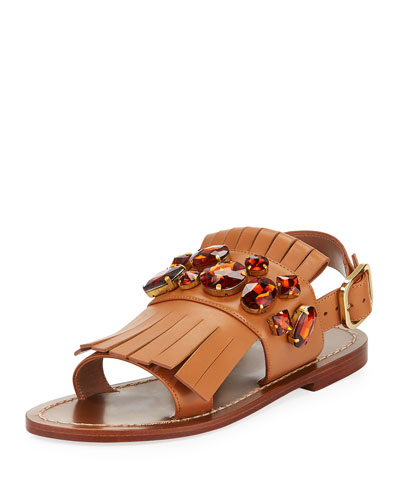 Jeweled Fringe Flat Sandal