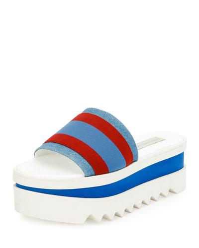Striped Fabric Platform Slide Sandal, Garn/Pervin