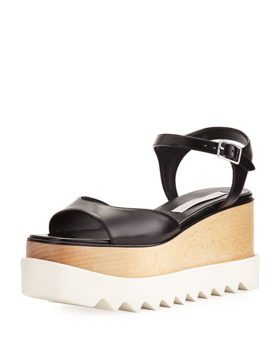 Faux-Leather Platform Creeper Sandal, Black