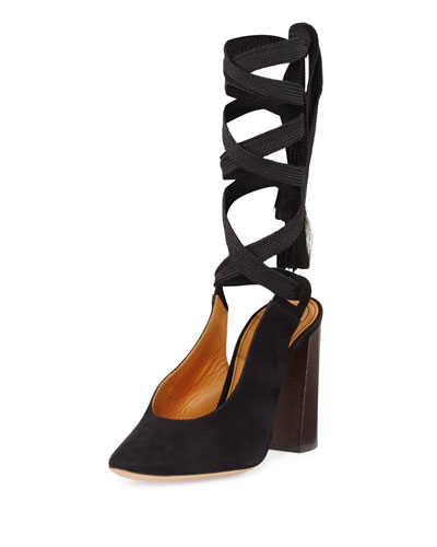 Suede Block-Heel Leg-Wrap Pump
