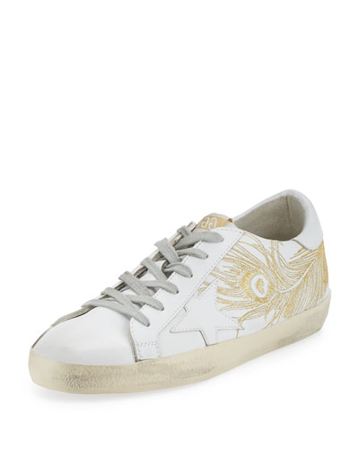 Superstar Embroidered Low-Top Sneaker, White/Gold
