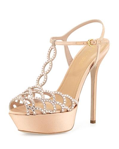 Scalloped Crystal T-Strap Platform Sandal