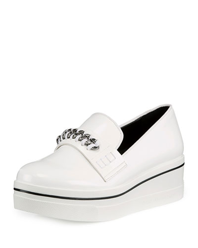Binx Curb-Chain Platform Sneaker, White