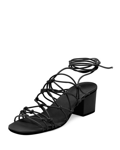 Knotted Leather Low-Heel Gladiator Sandal, Black