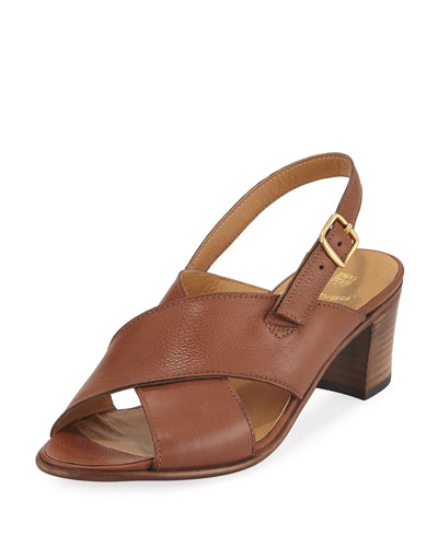 Leather Crisscross City Sandal