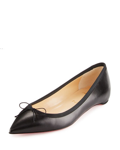 Solasofia Bow Red Sole Skimmer Flat, Black