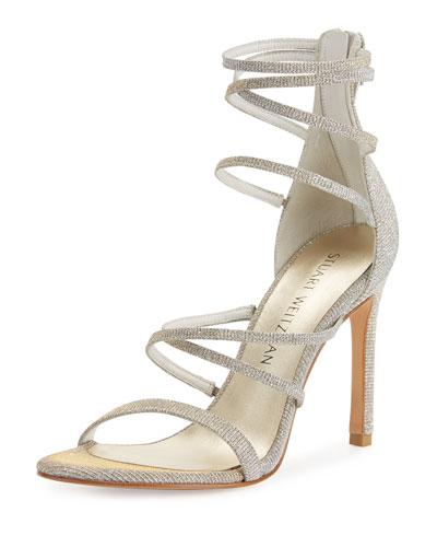 Myex Strappy Shimmery Sandal, Magnesium
