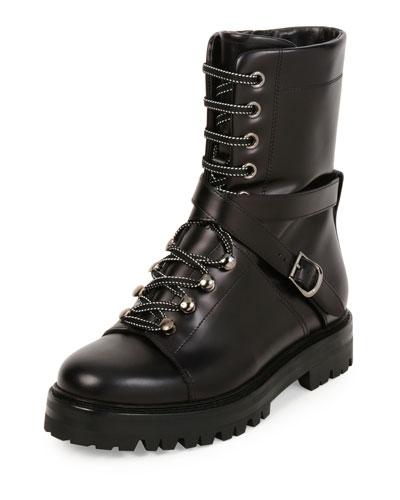 Rockstud Leather Combat Boot, Nero