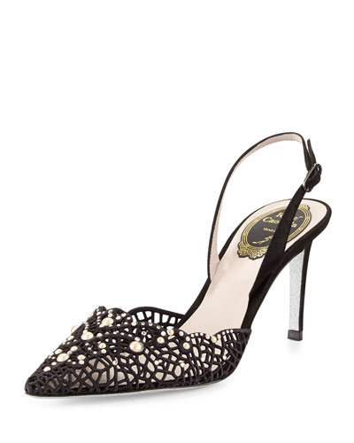 Embellished Lace Slingback Pump