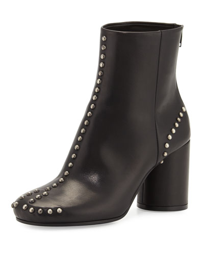 Studded Leather Round-Heel Ankle Boot