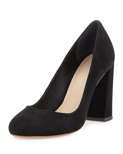 Sydnee Suede Chunky-Heel Pumps, Black
