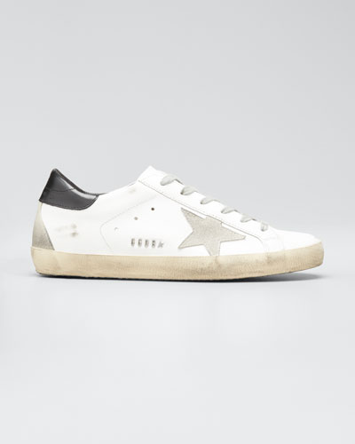 Distressed Leather Sneakers, White Pattern