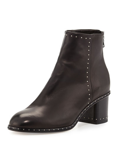 Willow Studded Leather Ankle Boot, Black