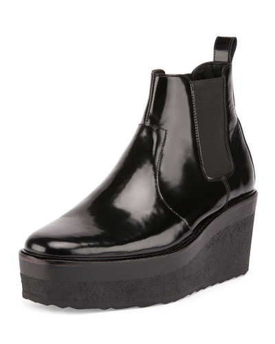 Jodhpur Polished Leather Platform Boot, Black