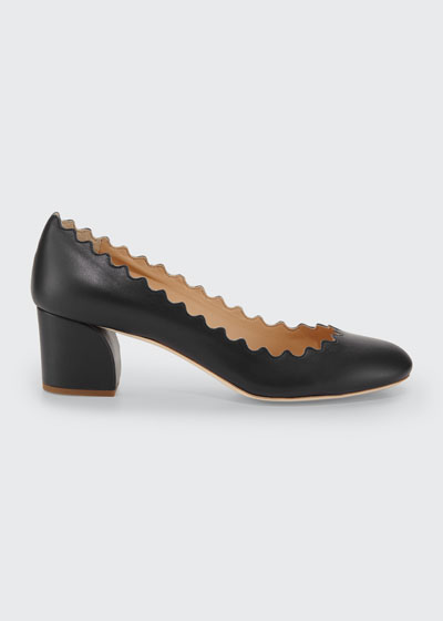 Scalloped Leather Pumps, Black