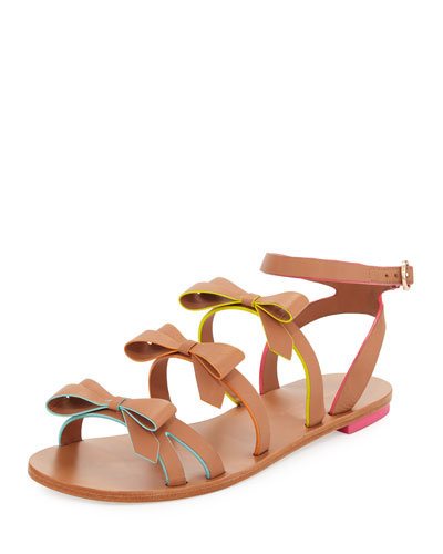 Samara Flat Bow-Detail Sandal, Tan/Multi