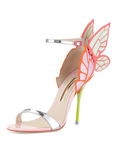 Chiara Butterfly Wing Ankle-Wrap Sandal, Orchid/Spearmint