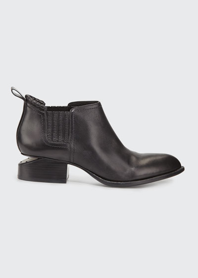 Kori Leather Tilt-Heel Boots, Black