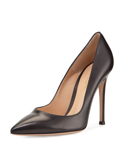 Leather Pointed-Toe Pumps, Black