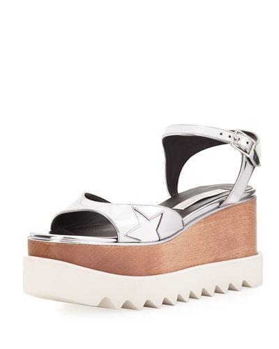 Star Wooden-Platform Sandal, Silver