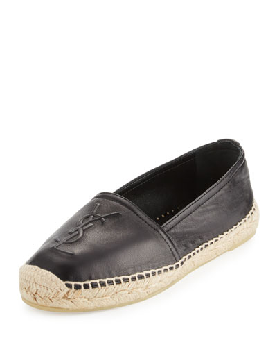 Leather Logo Espadrille Flat, Nero
