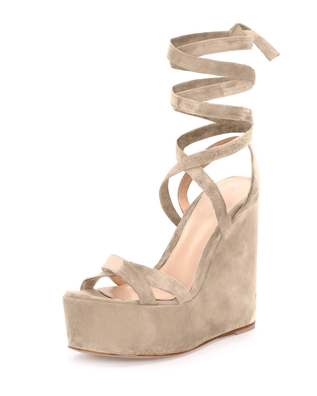 Platform Suede Leg-Wrap Sandal
