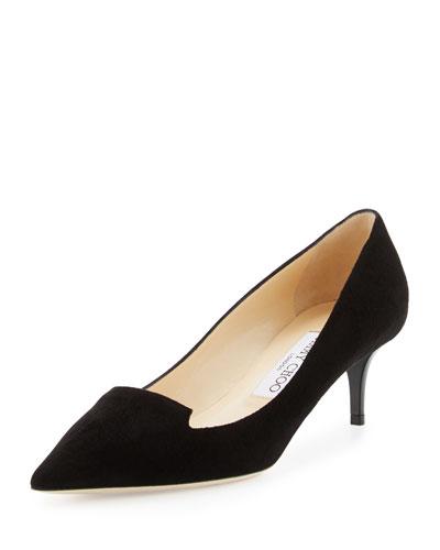 Allure Suede Pointed-Toe Loafer Pump, Black
